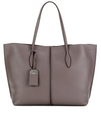Tod's Joy Large Leather Shopper Grey