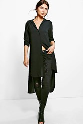 Boohoo Woven Open Back Longline Shirt Black