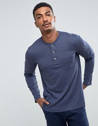 Mango Man Long Sleeve Top With Buttons In Navy Navy