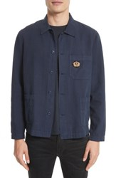 The Kooples Men's Trim Fit Overdyed Cotton And Linen Shirt Blue