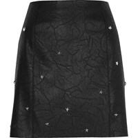 River Island Womens Black Faux Leather Studded Mini Skirt
