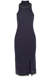 Jonathan Simkhai Bead Embellished Textured Stretch Knit Dress Navy