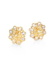 Mija White Sapphire Button Snowflake Earrings Gold