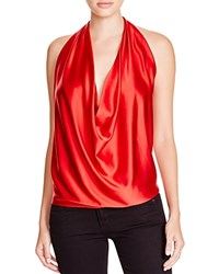 Ramy Brook Harriet Stretch Silk Halter Top True Red