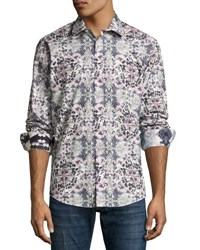 1 Like No Other Woven Floral Print Sport Shirt Purple
