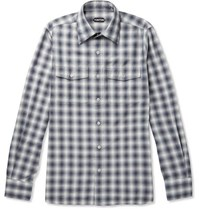 Tom Ford Checked Cotton Shirt Blue