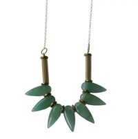 Metrix Jewelry Green Aventurine Spike Statement Necklace