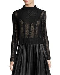 M Missoni Long Sleeve Lace Bib Mesh Top Black