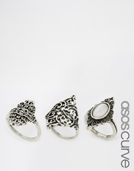 Asos Curve Pack Of 3 Etched Nomad Burnished Rings Silver