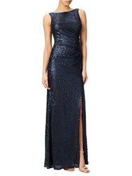 Adrianna Papell Sequin Pailette V Neck Gown Midnight