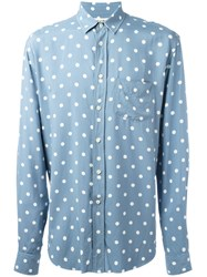 Saint Laurent Polka Dot Shirt Blue