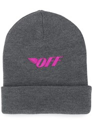 Off White Embroidered Logo Beanie Hat Grey