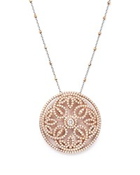 Bloomingdale's Diamond Pendant Necklace With Diamond Cut Bead Chain In 14K Rose And White Gold 2.0 Ct. T.W. 100 Exclusive White Rose