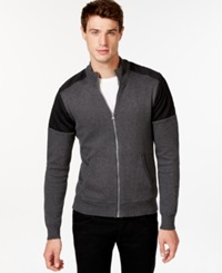 American Rag Quilted Colorblocked Zip Front Jacket Only At Macy's Charcoal Heather
