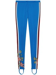 Gucci Embroidered Jersey Stirrup Legging Women Cotton Polyester L Blue