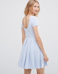 Asos Pleated Skater Dress With Scoop Back Soft Blue