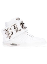 Philipp Plein Embellished High Top Sneakers Men Calf Leather Leather Rubber 44 White