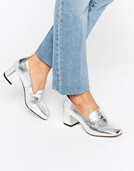 New Look Leather Metallic Heeled Loafer Silver