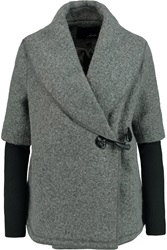 Line Faux Leather Trimmed Wool Blend Boucle Jacket Gray