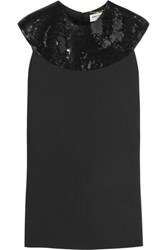 Saint Laurent Sequin Embellished Wool Crepe Mini Dress Black