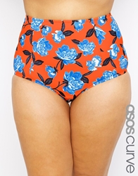 Asos Curve High Waist Bikini Bottom In Orange And Blue Floral Multi