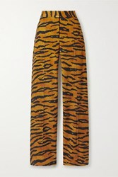 Adam By Adam Lippes Tiger Print Stretch Jersey Wide Leg Pants Tan