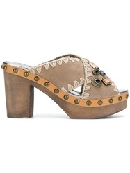 Mou Cross Strap Clog Mules Nude And Neutrals