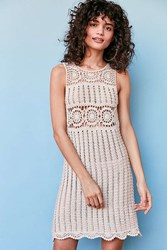 Astr Maya Crochet Slip Dress Cream