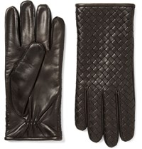 Bottega Veneta Cashmere Lined Intrecciato Leather Gloves Dark Brown