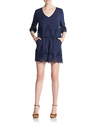 Saks Fifth Avenue Red Cotton Eyelet Romper Navy