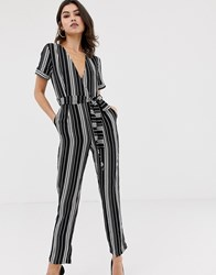 Girl In Mind Stripe Jumpsuit Black