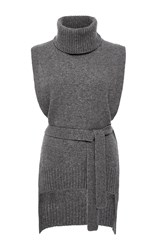 Rosetta Getty Turtleneck Poncho Sweater Light Grey