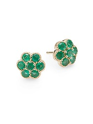 Saks Fifth Avenue Emerald And 14K Yellow Gold Flower Stud Earrings Green