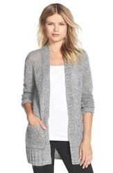 Women's Make Model Open Knit Long Cardigan Grey Filigree