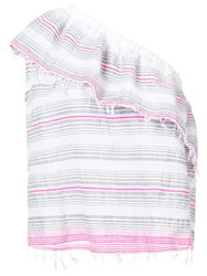 Lemlem Striped One Shoulder Top Pink And Purple