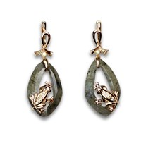 Bellus Domina Labradorite Frog Earrings Green