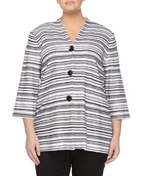 Misook 3 4 Sleeve Striped Jacket Black White