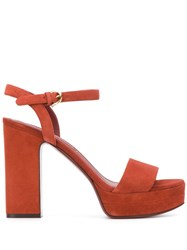 Salvatore Ferragamo Strappy Platform Sandals Red