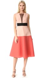 Lela Rose Colorblock Dress Coral Multi