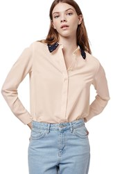 Women's Topshop Lace Collar Long Sleeve Shirt