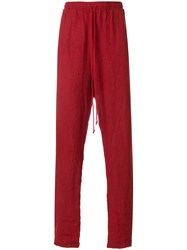 Lost And Found Rooms Relaxed Pants Cotton Linen Flax Red