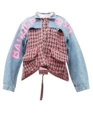 Natasha Zinko Houndstooth And Denim Panelled Jacket Pink Multi
