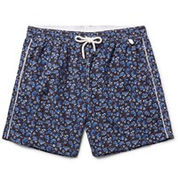 Isaia Slim Fit Mid Length Paisley Print Swim Shorts Midnight Blue