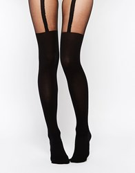 Asos Rib Suspender Over The Knee Tights With Control Top Black