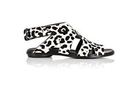 Proenza Schouler Women's Leopard Print Haircalf Sandals White