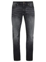 Saint Laurent Je T'aime Embroidered Faded Skinny Jeans Black