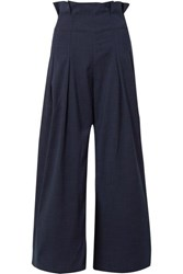 Paper London Solo Checked Pleated Voile Wide Leg Pants Midnight Blue