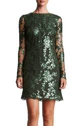 Dress The Population Women's 'Grace' Sequin Lace Long Sleeve Shift Olive