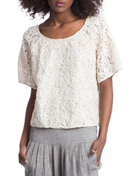 Plenty By Tracy Reese Short Sleeve Lace Top Natural