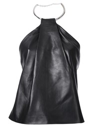 Thierry Mugler Leather Ring Halter Top Black